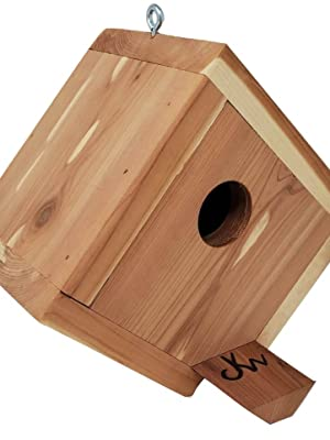 Wakefield Hanging Cedar Birdhouse side view showing off triangle design and perch