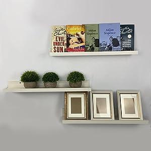 Calenzana 24 White Floating Shelves for Wall Set of 3 Bookshelves Picture Photo Ledge Shelf