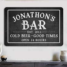 Personalized Custom Bar Sign