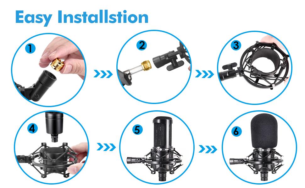Easy Installation Setup  microphone shock mount with a foam windscreen