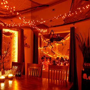 orange lights indoor decorations