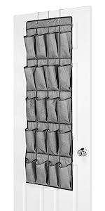 20-Pocket Over the Door Shoe Bag Crosshatch Gray