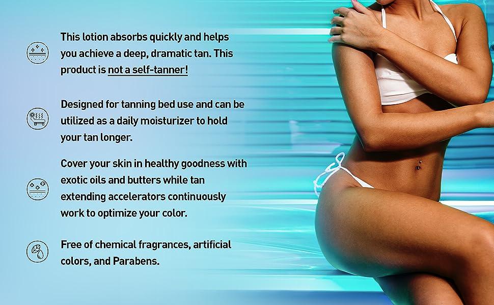 Bed tan | natural tan | natural ingredients | made USA | benefits | tanning indoor