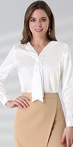 Tie Neck Silk Blouse Long Sleeve Elegant Button Cuff Office Shirt