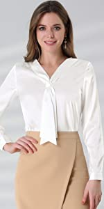 B08TMDBJ1N Tie Neck Office Shirt