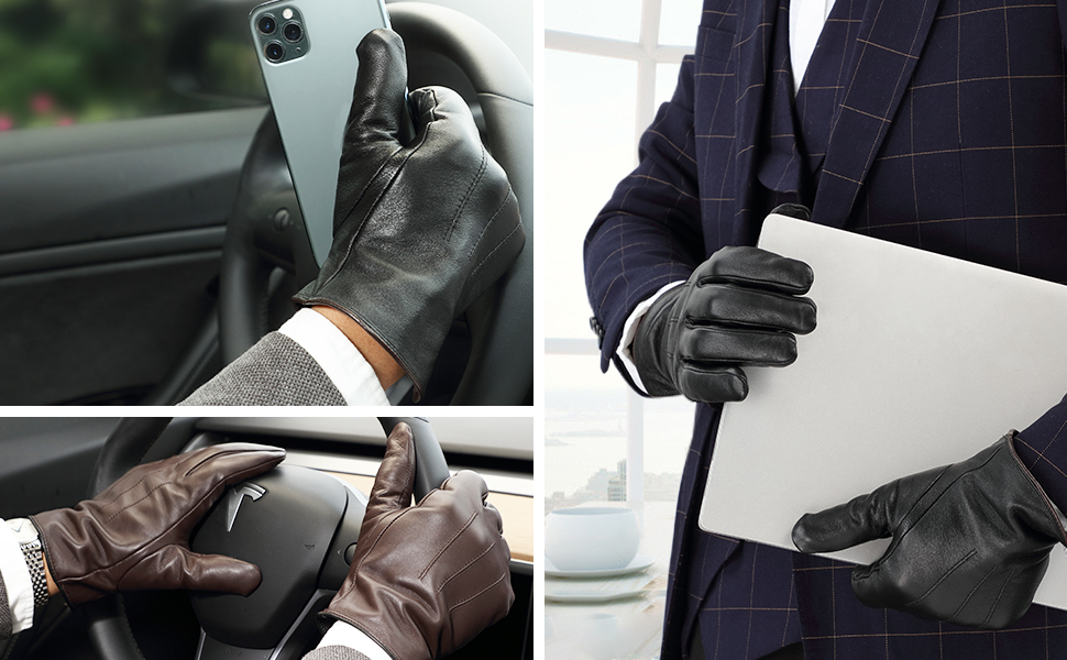 mens leather gloves for driving texting gift touchscreen winter warm
