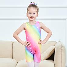 MODAFANS Leotards for Girls Gymnastics with Shorts Dance Rainbow Leopard Matching Hair Scrunchie
