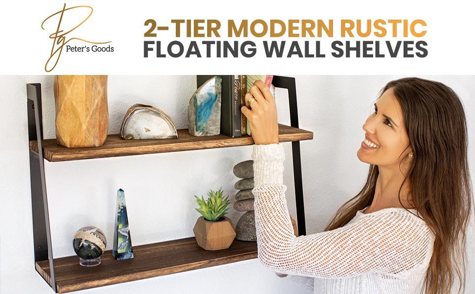 modern rustic floating wall shelves