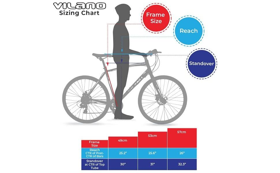 Bike size chart for Vilano Diverse 3.0