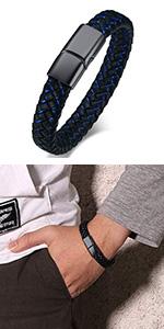 personalized men leather bracelet