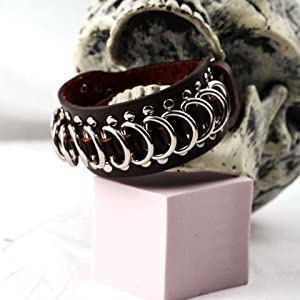 Eigso Brown Genuine Leather cool punk steampunk stainless goth bracelets for men and women