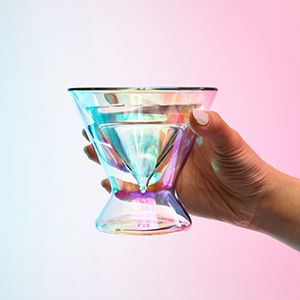 dragon glassware iridescent martini glass being held