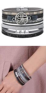 leather bracelet tree of life bracelet wrap bracelet boho bracelets for women cuff bracelet