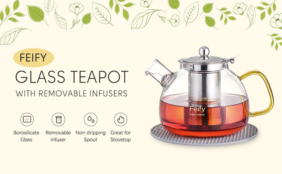 glass teapot with infuser tea maker gift