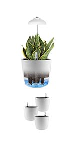 "GrowLED Umbrella Height Adjustable Plant Grow Light with 3PCS 7"" White Planter"