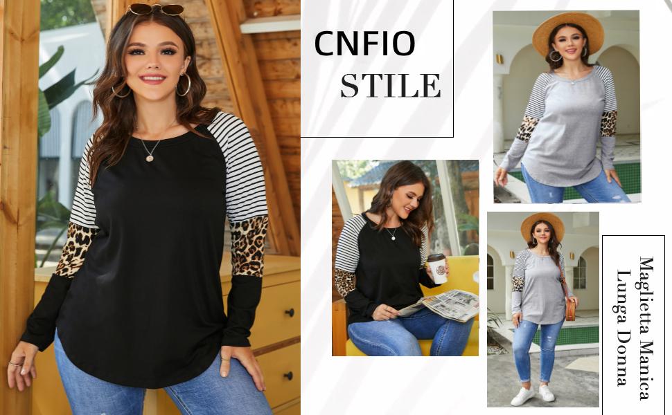 Maglietta Rotondo Maniche Lunghe Maglieria Basic Shirt Eleganti Lady Camicetta Stampa Leopardo