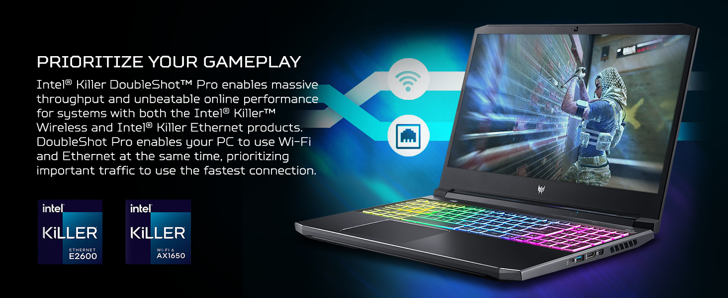 killer ethernet wireless doubleshot latency lag smooth stream streaming prioritize network traffic