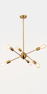 Rotatable Gold Sputnik Chandelier 6-Light
