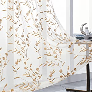 Beige Sheer Curtains Embroidery 63 Inch Length Rod Pocket Voile Drapes for Living Room