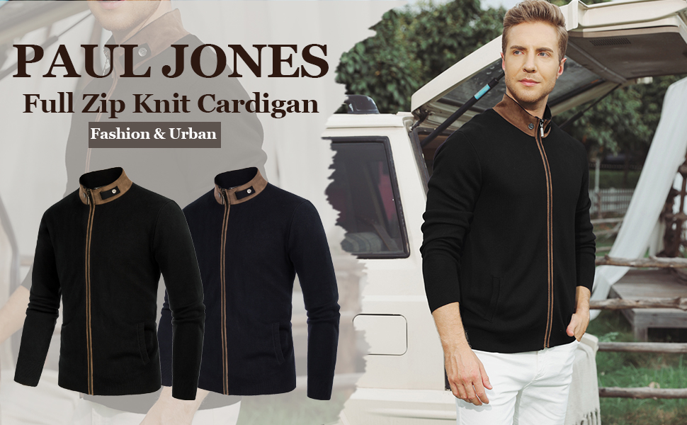 mens full zip cardigan suede leather patchwork stand collar zip up cardigan sweater with pockets