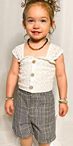 little girls lace summer outfit set
