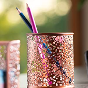Rose Gold Sunflower Floral Flair Design Pen or Pencil Pot