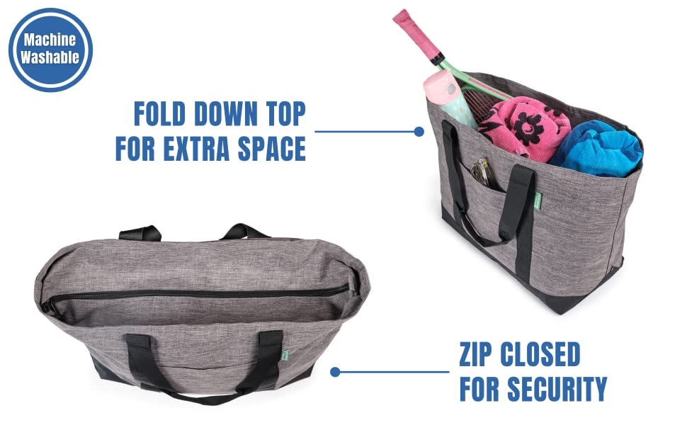 FOLD DOWN TOP FOR EXTRA SPACE AND ZIPS CLOSED FOR SECURITY