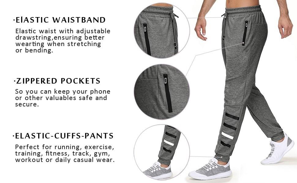 mens joggers sweatpants with zipper pockets