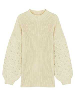 Selowin Women Knit Sweater V Neck Casual Loose Chunky Pullover Tops…