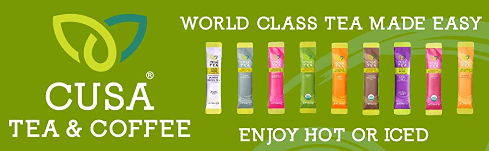 Cusa Tea amp; Coffee, premium instant tea, enjoy hot or iced