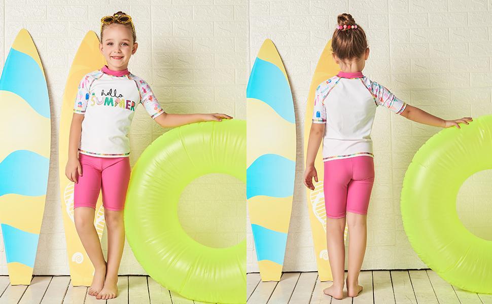 toddler girls Rash Guard Swimsuit