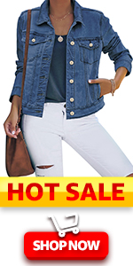 luvamia Womenamp;amp;#39;s Basic Button Down Stretch Fitted Long Sleeves Denim Jean Jacket