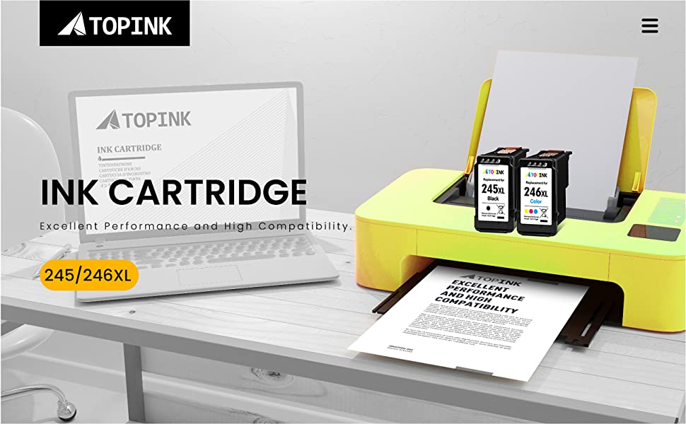 Image of an office showing the brand ATOPINK and the items 245xl 246xl ink cartridges