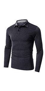 VANVENE Men's Casual Regular Fit Long Sleeve Plain Polo T-Shirts Lapel Business Button Shirts S-2XL