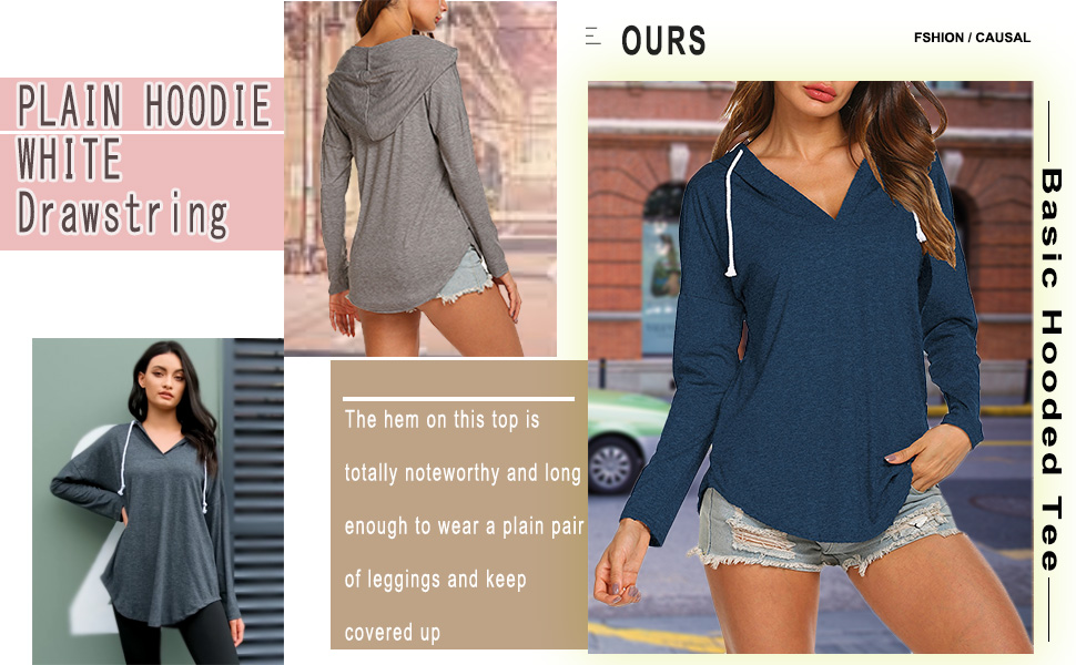 Plain hoodie with white drawstring,the hem on this top is totally noteworthy and long enough