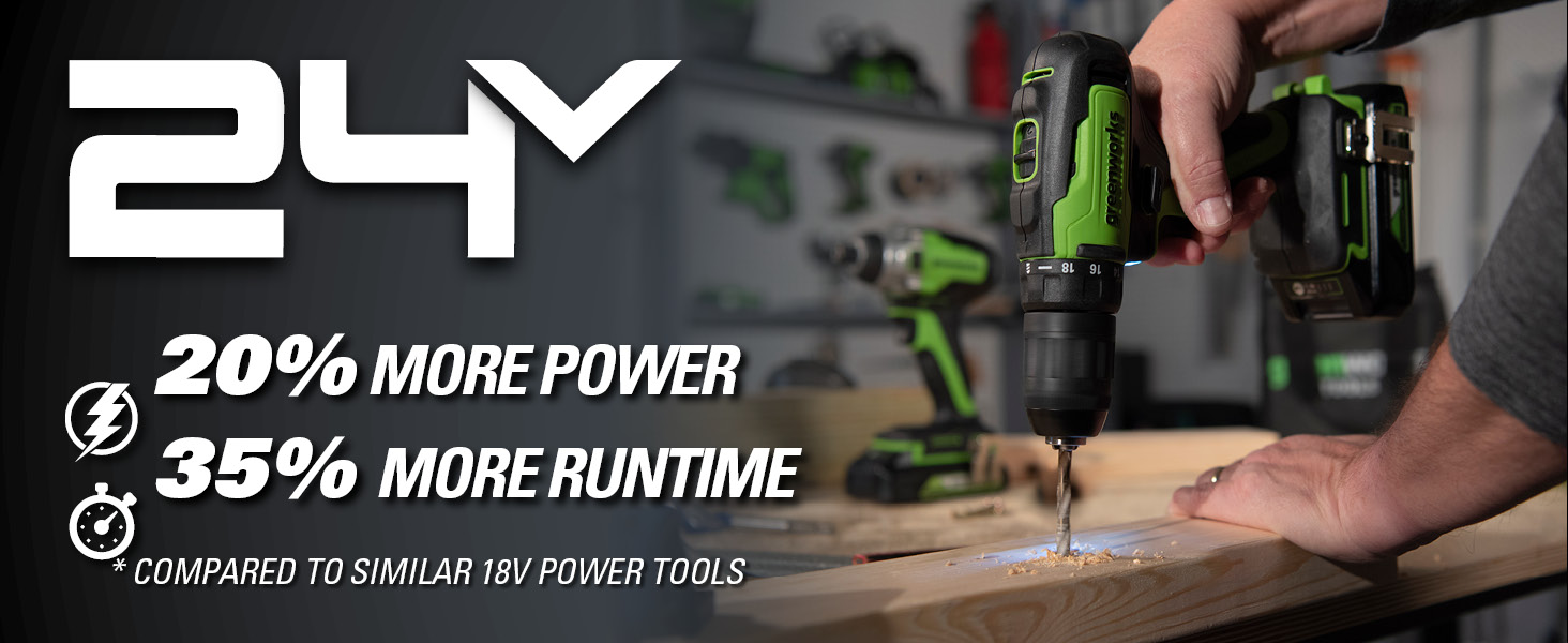 24V provide more power than 18V tools