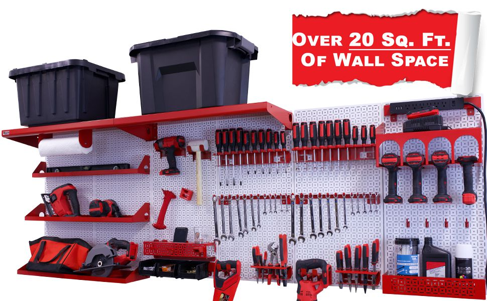 OmniWall Weekend Warrior Ultimate tool Kit for Garage Tool Organization Metal Pegboard System