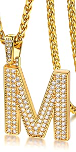 Iced out letter necklace