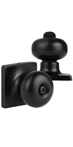 Black Door Knobs with Square Rosette