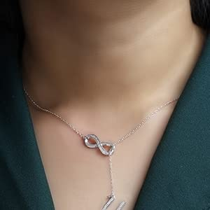 Sterling Silver Infinity Alphabet Initial Letter A-Z Lariat Pendant necklace