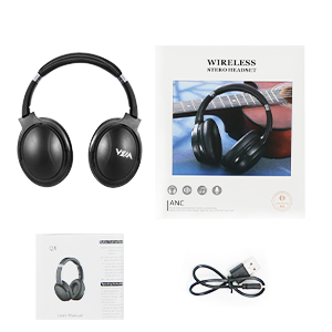 The headset includes instructions and a charging cable