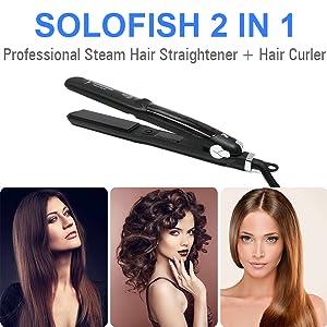 2 IN 1 HAIR STRAIGHTENER+HAIR CURLER