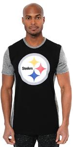 Ultra Game NFL Men's Raglan Block Short Sleeve Tee Shirt