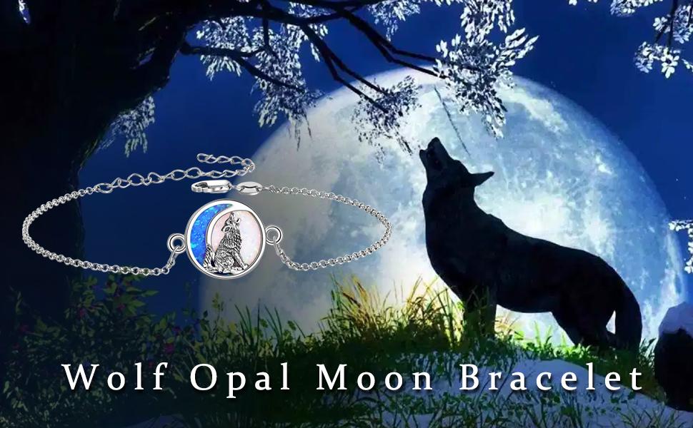 Wolf Opal Moon Bracelet