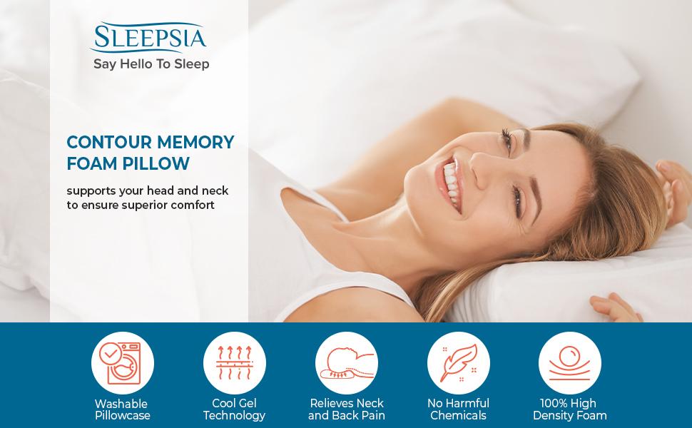 Sleepsia Cervical Contour Memory Foam Pillow