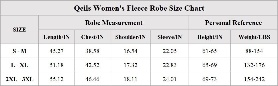 womens fleece robe size chart
