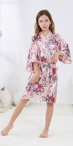 Girls Silky Satin Floral Robe