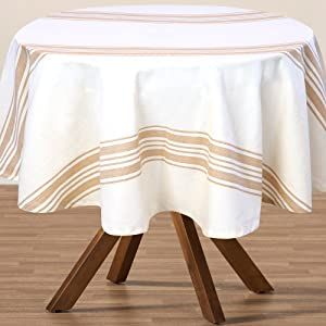 Round Fall Tablecloth - Dining Table Tablecloth - Cotton Stripe Round Tablecloth