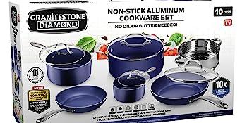 blue nonstick cookware