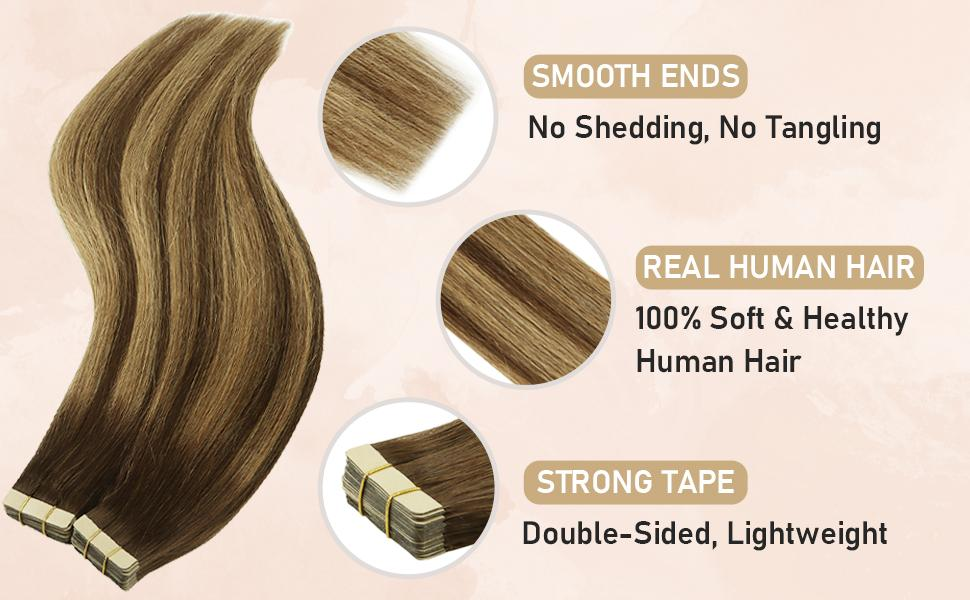tape in hair extensions feature smooth human hair and strong tapes
